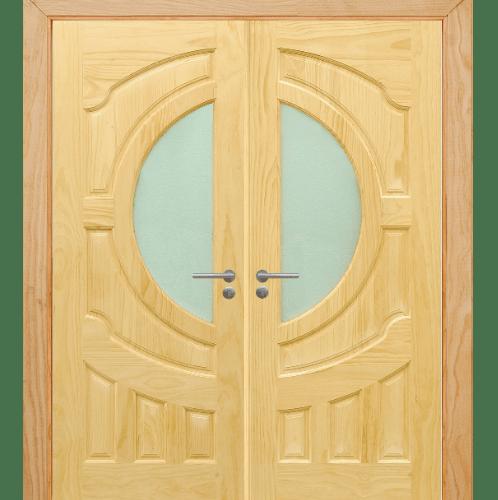 D2D ประตูไม้สนนิวซีแลนด์ ลูกฟักพร้อมกระจก ขนาด 90x200 ซม. SET 2 D2D-405
