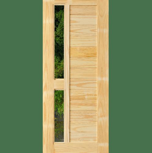 D2D ประตูไม้สนนิวซีแลนด์ ทำร่องพร้อมช่องกระจก ขนาด 80x200ซม.  D2D-408
