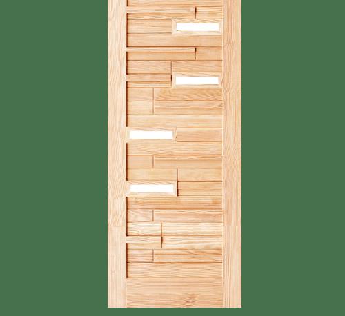 D2D ประตูไม้ดักลาสเฟอร์ ทำร่องพร้อมกระจก ขนาด 90x200cm. Eco Pine-034 Plus