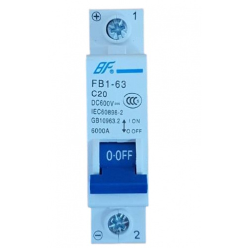 BF เซอร์กิตเบรกเกอร์  FB1-63 DC 1P 20A สีฟ้า