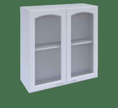 MJ  ตู้แขวนคู่แบบกระจกโค้งใส  W808GCL-W ขาว