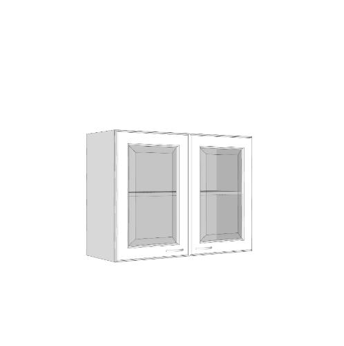 MJ ตู้เขวนคู่กระจกตรงใส W608GL-W สีขาว MJ  ขาว