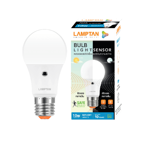 Lamptan หลอดไฟแอลอีดี บับ ไลท์ เซ็นเซอร์ 10W เดย์ไลท์ LIGHT SENSOR สีขาว