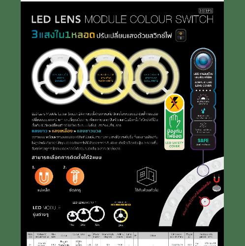 LAMPTAN หลอดแอลอีดีปรับได้ 3 แสง เลนส์ โมดูล  ปรับสวิทซ์ 24W DL/WW/CW