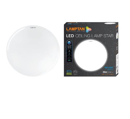 LAMPTAN โคมไฟเพดาน LED 36W STAR แสงเดย์ไลท์ สีขาว
