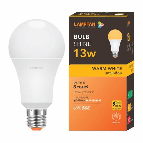 LAMPTAN หลอดไฟ LED BULB 13W แสงวอร์มไวท์ รุ่น SHINE E27 SHINE สีขาว