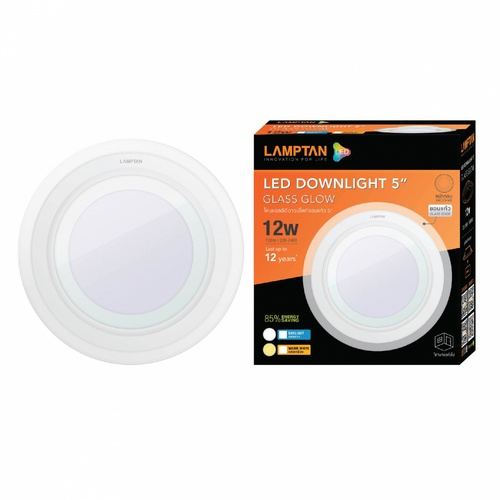LAMPTAN โคมดาวน์ไลท์ฝังฝ้า LED 12W หน้ากลม ขอบกระจกใส แสงเดย์ไลท์ กลาสโกลด์ สีขาว