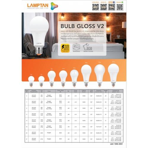 Lamptan หลอดไฟ LED BULB 7W แสงเดย์ไลท์ รุ่น GLOSS V2 E27 P.2 GLOSS V2 สีขาว