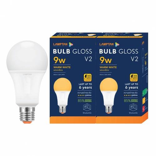 LAMPTAN หลอดไฟ LED BULB 9W แสงวอร์มไวท์ รุ่น GLOSS V2 E27 P.2 GLOSS V2 สีขาว