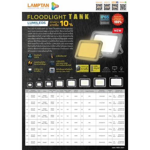 LAMPTAN โคมไฟฟลัดไลท์ LED 30W แสงวอร์มไวท์ รุ่นแท้งค์  IP65 TANK สีดำ