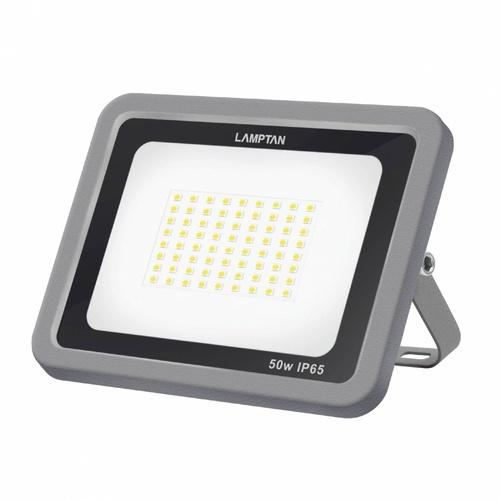 LAMPTAN โคมไฟฟลัดไลท์ LED 50W แสงวอร์มไวท์ รุ่นแท้งค์  IP65 TANK สีเทา
