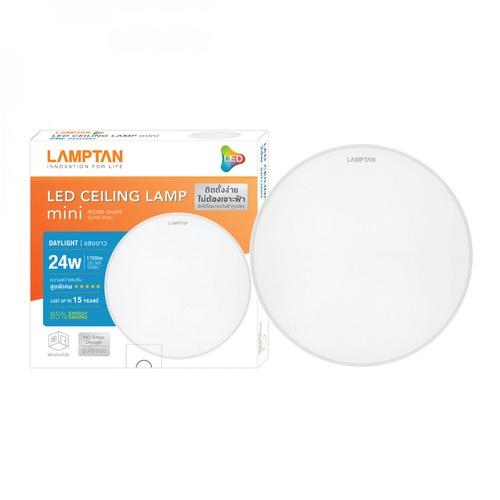 LAMPTAN โคมดาวน์ไลท์ติดลอย LED 24W หน้ากลม แสงเดย์ไลท์ 8นิ้ว รุ่นมินิ Ceiling Light Mini สีขาว
