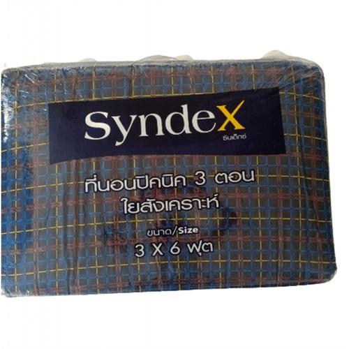 SYNDEX ปิกนิคใยสังเคราะห์ 3 x 6 ฟุต  Basic ชนิดพับ 3 ตอน ตารางน้ำเงิน