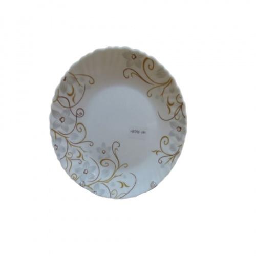 ADAMAS จานโอปอลขอบริ้ว ลายดอกซากุระ 8.5 นิ้ว  HBTP85-1080 สีขาว