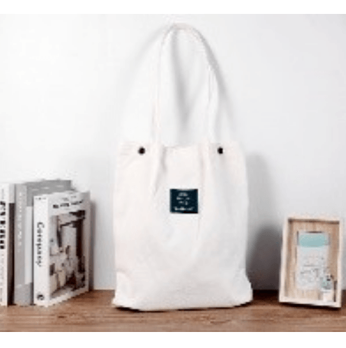 USUPSO กระเป๋าผ้าแคนวาสสะพายข้าง - สีขาว