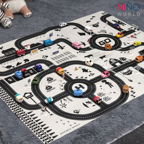 NINO WORLD ชุดแผนที่ Nordic style ฝึกทักษะ (แผนที่1 + รถ 4 + ป้าย 28 ชิ้น)  TCC001