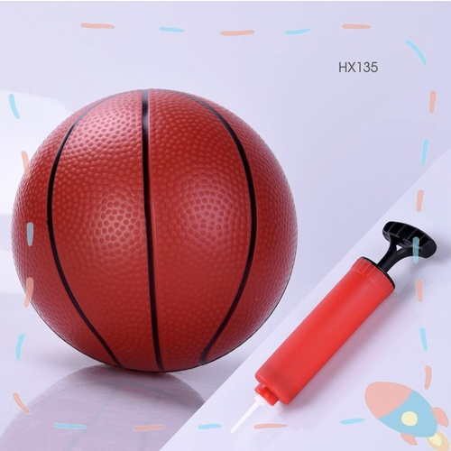 Sanook&Toys ชุดลูกบาสเก็ตบอลเด็ก พร้อมที่สูบลม HX135 สีน้ำตาลเข้ม