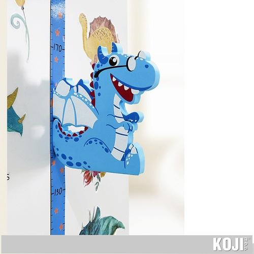 KOJI ที่วัดส่วนสูงแม่เหล็กไดโนเสาร์ติดผนัง 3D  (65-185 cm.) SK39003 สีฟ้า