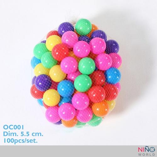 NINO WORLD ลูกบอล PE ขนาด 5.5 ซม. คละสี 100 pcs/ชุด OC001
