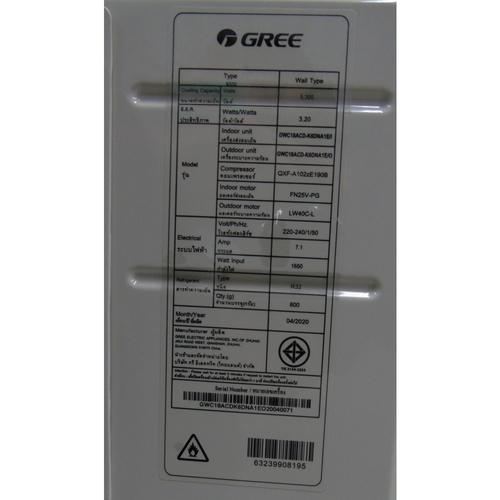 Gree เครื่องปรับอากาศ Inverter 18000 BTU GWC18ACD-K6DNA1E สีขาว