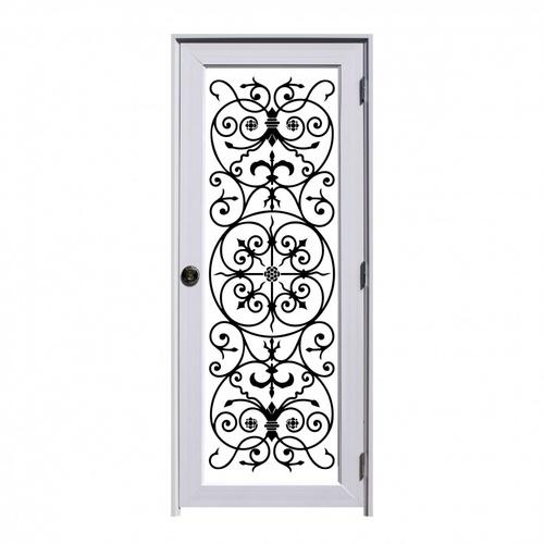 ECO DOOR ประตูยูพีวีซีชุดพร้อมวงกบบานพับลูกบิดขนาด 80x200cm.  Wrought Iron