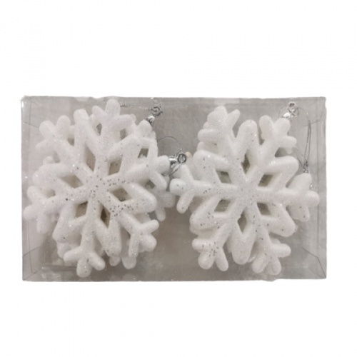 COZY เกร็ดหิมะตกแต่งต้นคริสต์มาส 2ชิ้น/แพ็ค ขนาด10x1x10ซม.  SHE19-032 สีขาว