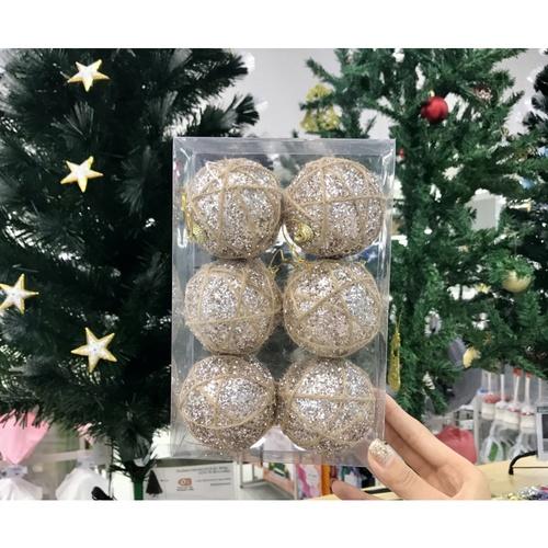 COZY ลูกบอลประดับต้นคริสต์มาส 6ชิ้น/แพ็ค ขนาด 7x7x8ซม.  RM7-8071 สีขาว