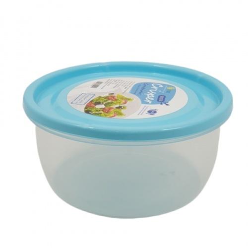 GOME กล่องอาหารพลาสติกทรงกลม  ขนาด 13.7x13.7x6.5 ซม. SP0022-BU 650ML. สีฟ้า