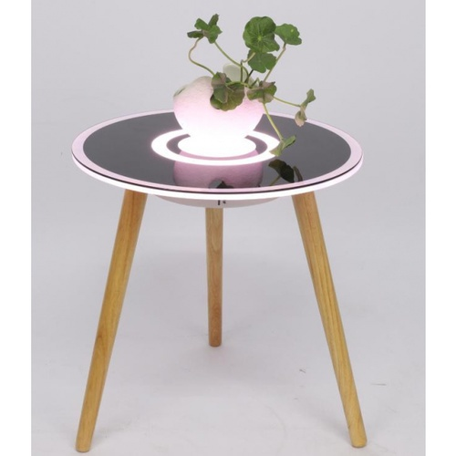 EILON โต๊ะลำโพงอัจฉริยะ LED RGB 8W ความสูง 50cm  JD-520BX สีดำขาไม้