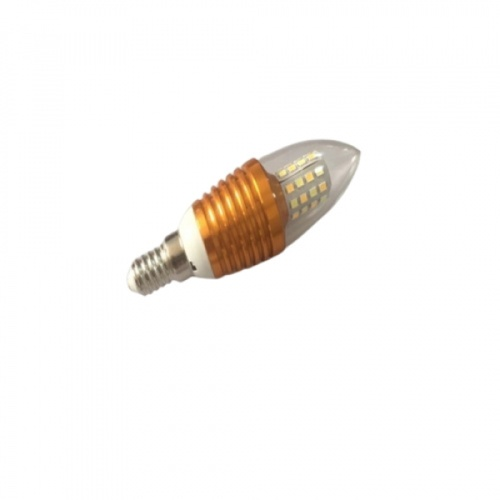 EILON  หลอดไฟ LED 4W ปรับได้ 3 แสง ขั้ว E14 Gold  ทรงจำปา สีขาว