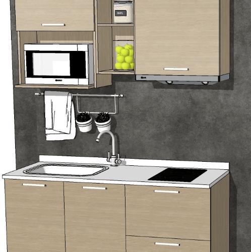 LAVAREDO ชุดครัวคอมแพ็คเซท 150ซม. ท็อปซิงค์ Compact Set S 150 CM สีขาว