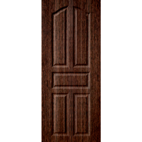 BWOOD ประตูยูพีวีซี บานทึบ 5ฟักปีกนก 90x220ซม. BROWN WENGE (เจาะ)  ECO-Series LBEN001
