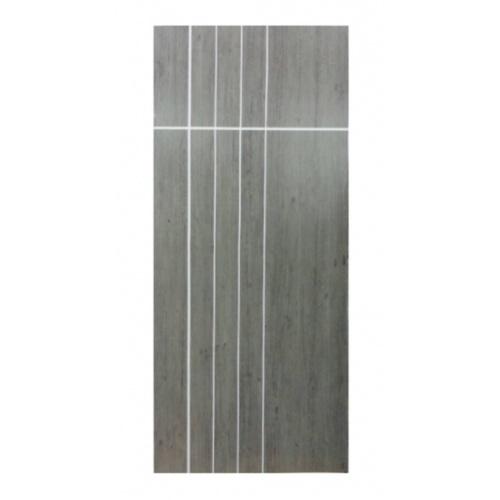 BWOOD ประตูไม้ลามิเนตเซาะร่องปิดผิวไวนิล ขนาด  90x200ซม. สีเทา-โอ๊ค (เจาะ)  LMNMR008 REVO