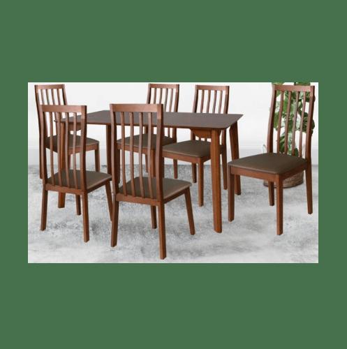 Delicato ชุดโต๊ะอาหาร6ที่นั่ง  KAELYN DE-6 สีน้ำตาลเข้ม