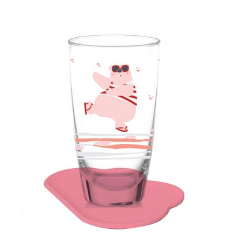 Ocean แก้วน้ำสามารถเปลี่ยนสีได้ พร้อมจานรอง  personal bear สีชมพู
