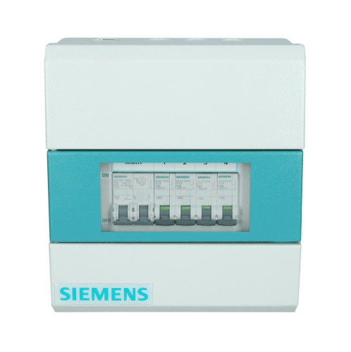 SIEMENS เครื่องตัดไฟอัตโนมัติ 4 ช่อง + Main 50A  (ธรรมดา) ขาว-ฟ้า