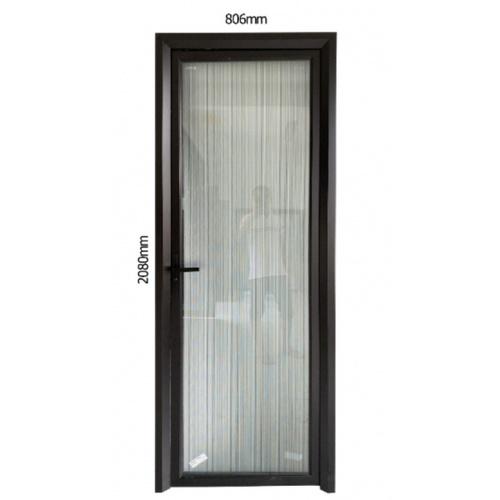 Wellingtan ชุดประตูอลูมิเนียม ลายดำน้ำตาล (เปิดซ้าย) ขนาด 80.6x208ซม.  ALD-BK0010L สีดำ