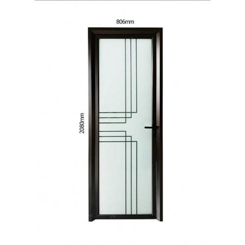 Wellingtan ชุดประตูอลูมิเนียม ลายสีดำตัดกลาง 6เส้น (เปิดขวา) ขนาด 80.6x208ซม.  ALD-BK002R สีดำ