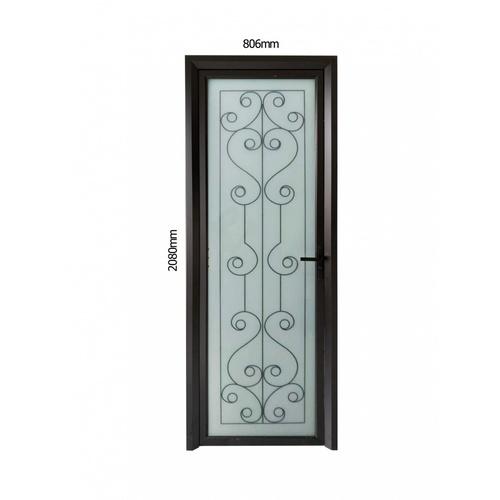 Wellingtan ชุดประตูอลูมิเนียม ลายสีดำดัดกลาง ( เปิดขวา ) ขนาด 80.6x208ซม.  ALD-BK003R สีดำ