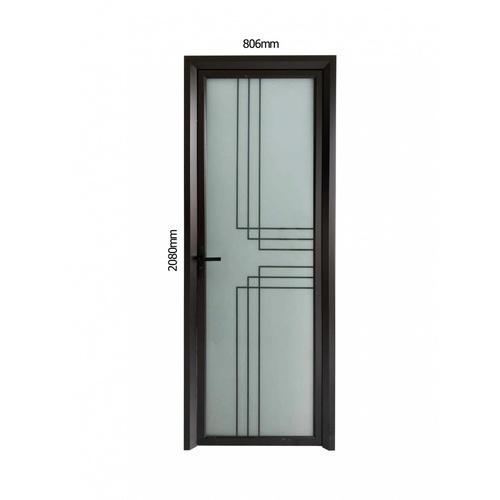 WELLINGTAN ชุดประตูอลูมิเนียม ลายสีดำตัดกลาง 6เส้น (เปิดซ้าย) ขนาด 80.6x208cm.  ALD-BK002L สีดำ