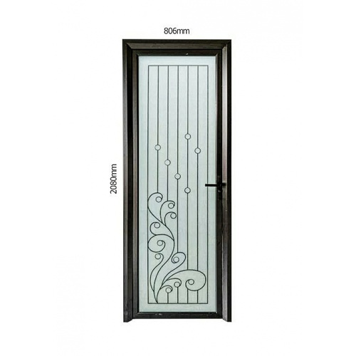 Wellingtan ชุดประตูอลูมิเนียม ลายสีดำดัดด้านล่าง (เปิดขวา) ขนาด 80.6x208ซม.  ALD-BK004R สีดำ