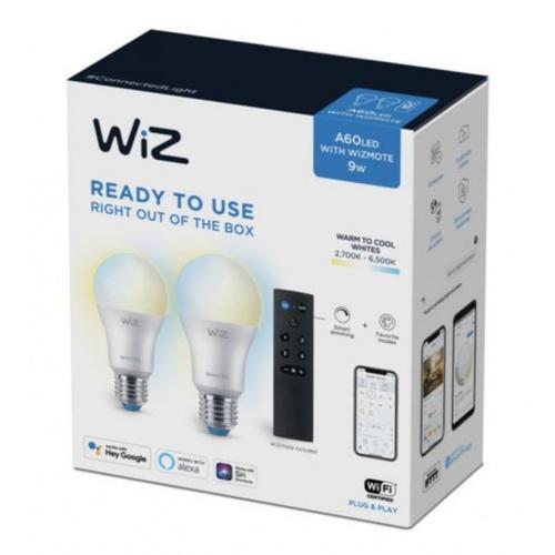 PHILIPS WiZ หลอดไฟแอลอีดี Wi-Fi LED Bulb 9W A60 + Remote