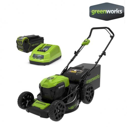 GREENWORKS รถตัดหญ้าเดินตามแบตเตอรี่ 40V พร้อมแบตเตอรีและแท่นชาร์จ GWS0010
