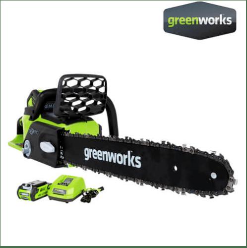 GREENWORKS เลื่อยโซ่แบตเตอรี่ ขนาด 40V, บาร์ 10 นิ้ว พร้อมแบตเตอรีและแท่นชาร์จ GWS0009