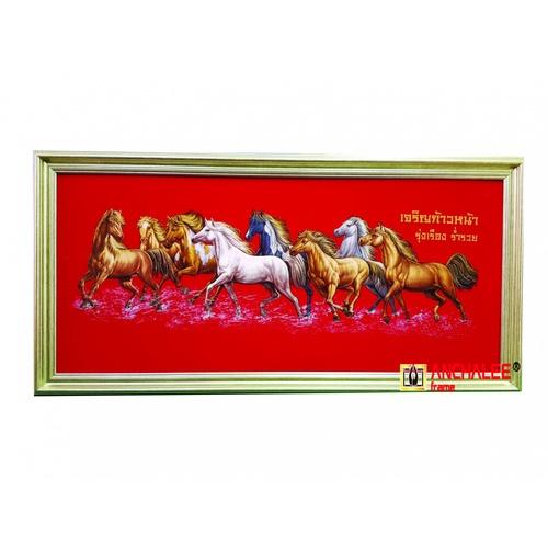 """Anchalee frame ภาพม้ากำมะหยี่(เล็ก) A6 ขนาด13""""x29"""" สีแดง"""