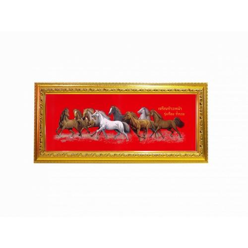 """Anchalee frame ภาพม้า 8 เซียน (เล็ก)  ขนาด9""""x23"""" A7 สีแดง"""