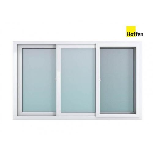 Hoffen  หน้าต่างไวนิล บานเลื่อน ขนาด 180x110ซม.  พร้อมมุ้ง SFS W4  สีขาว