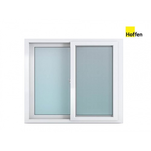 Hoffen หน้าต่างไวนิล บานเลื่อน SSขนาด 150x110ซม. พร้อมมุ้ง  W12 สีขาว