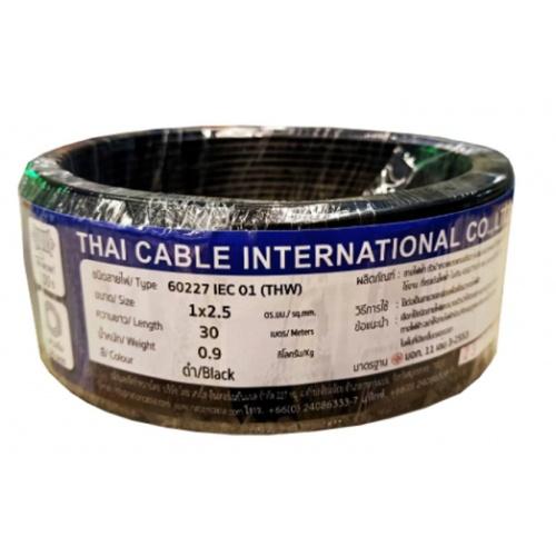 Global Cable สายไฟ THW  IEC01 1x2.5 30เมตร สีดำ