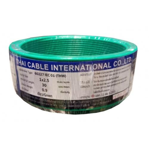Global Cable  สายไฟ THW  IEC01 1x2.5 30เมตร  สีเขียว